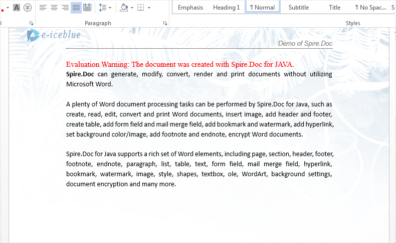 Remove footnote from Word document in Java
