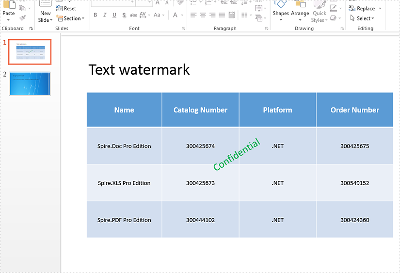 Remove text and image watermarks in presentation slides