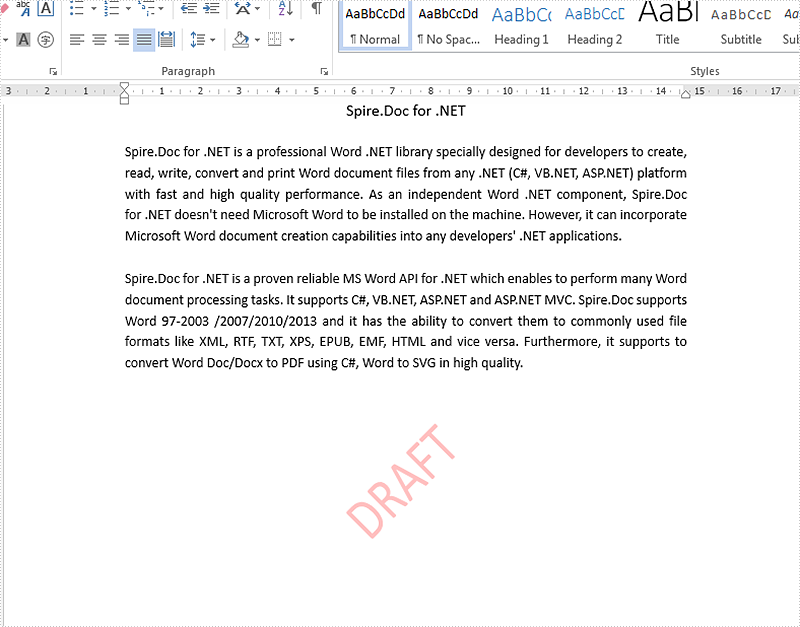 Remove the text and image watermark from the word document in C#