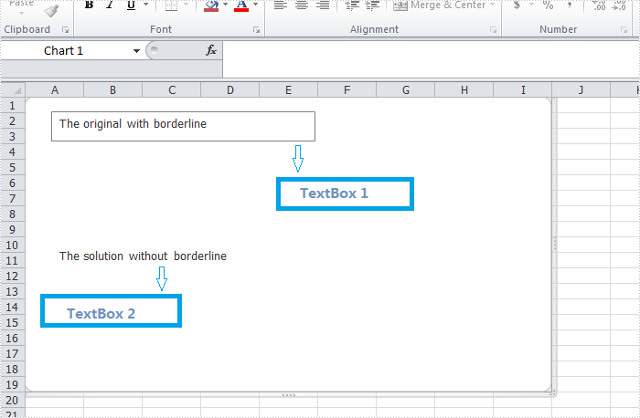 Remove borderline of textbox in Excel chart in C#, VB.NET