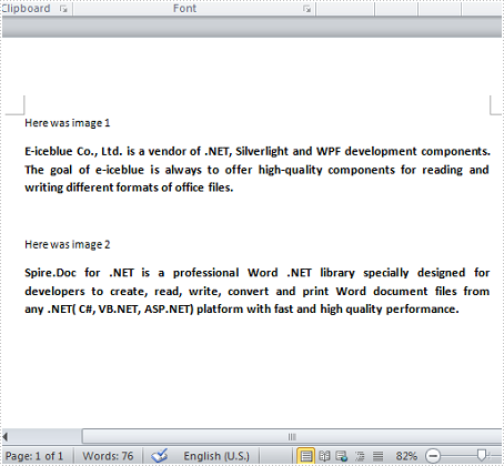 Replace Images in Word with Texts in C#