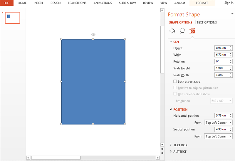 Reset the size and position for the shape on presentation slides in C#
