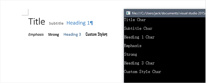 Retrieve Style Names of all TextRanges in a Word Document in C#, VB.NET