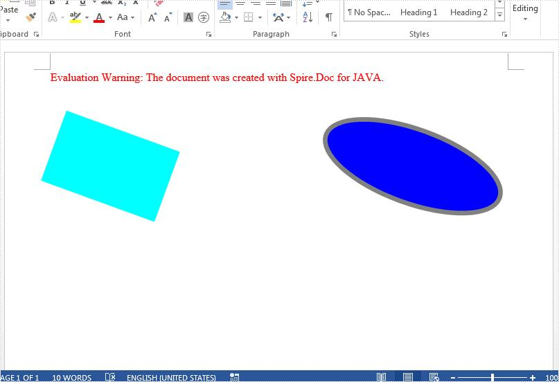 Rotate shapes on Word document in Java