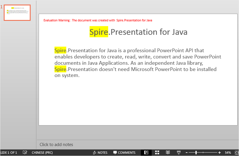 Search and Highlight Specific Text in PowerPoint in Java