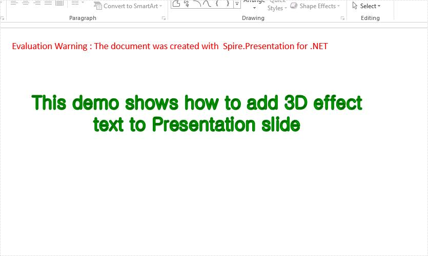 Set 3D effect for the text in PowerPoint in C#
