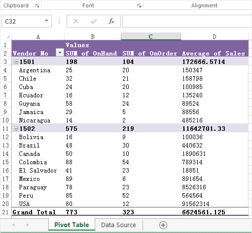 set data fields format on excel pivottable in c