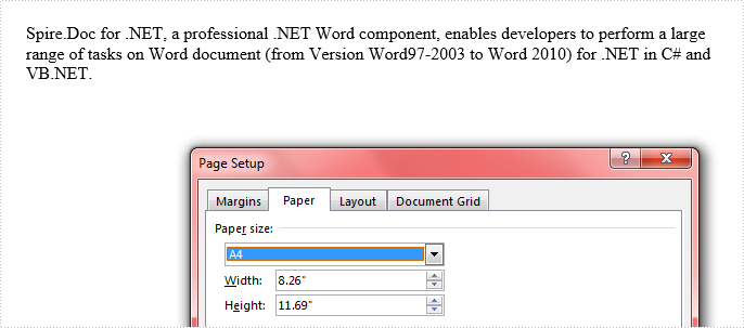 How to Set Page Size of Word Document in C#