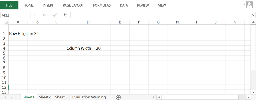 Set Row Height and Column Width in Excel in Java