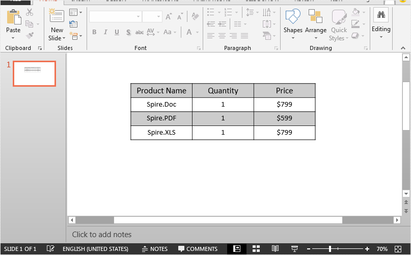 Set Table Row Height and Column Width in PowerPoint in Java