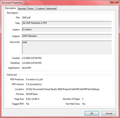 Set XMP Matedata of a PDF Document in C#, VB.NET