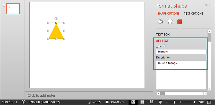 Set and Get Alternative Text (Alt Text) of PowerPoint Shapes in Java