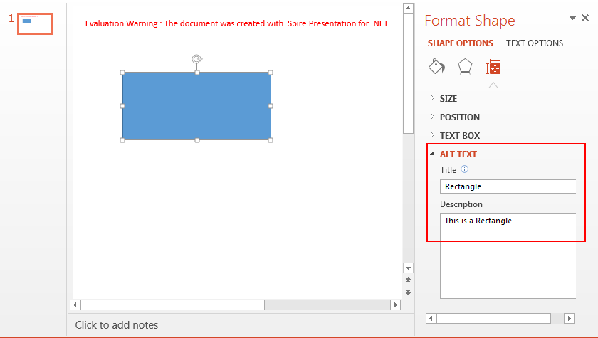 Set and Get Alternative Text   (Title and Description) of PowerPoint Shapes in C#