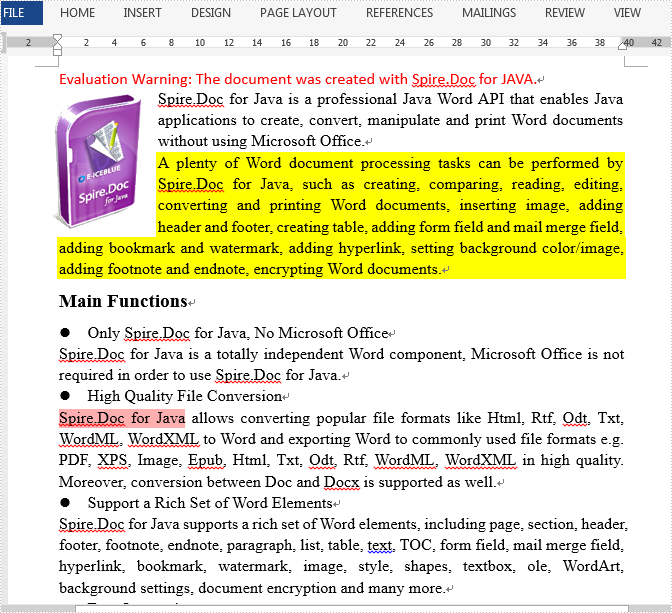 Java Set background color for specified paragraph or text of a Word document