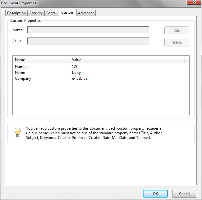 Set custom properties for PDF files in Java