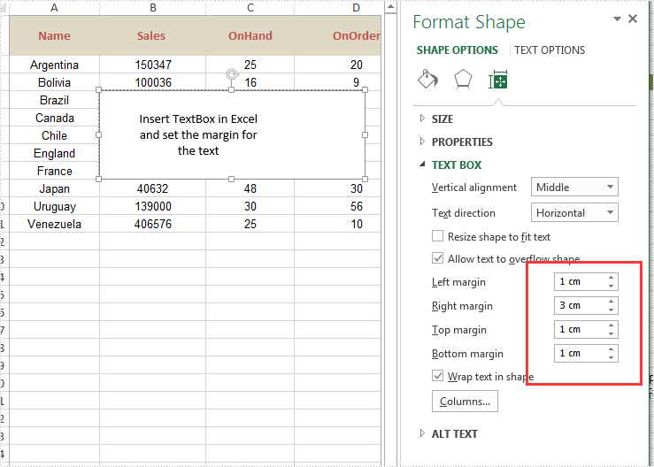 Set the internal margin of excel textbox in C#