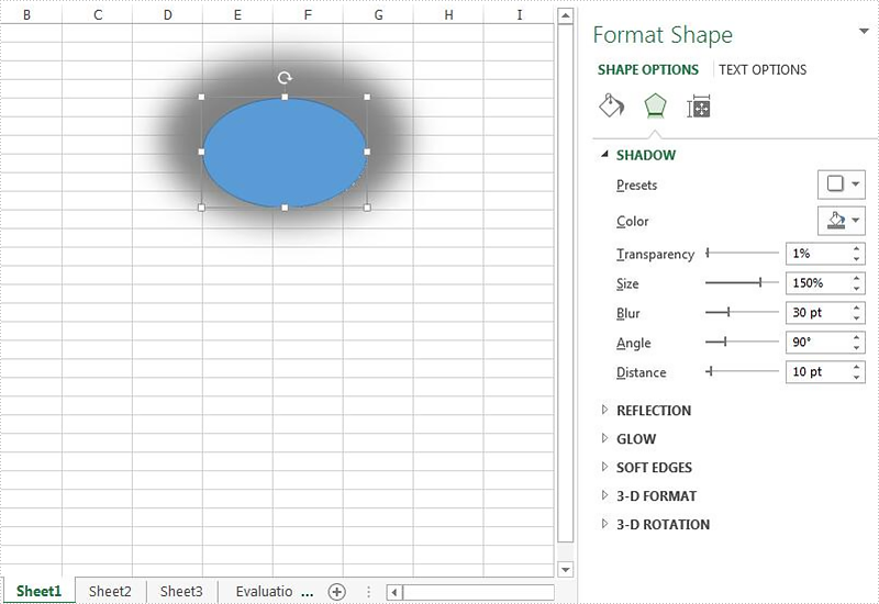 Set the shadow style for the shape on Excel worksheet in C#