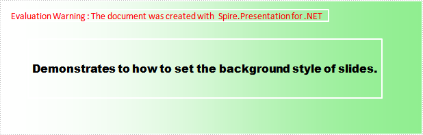 Set the background style of slides