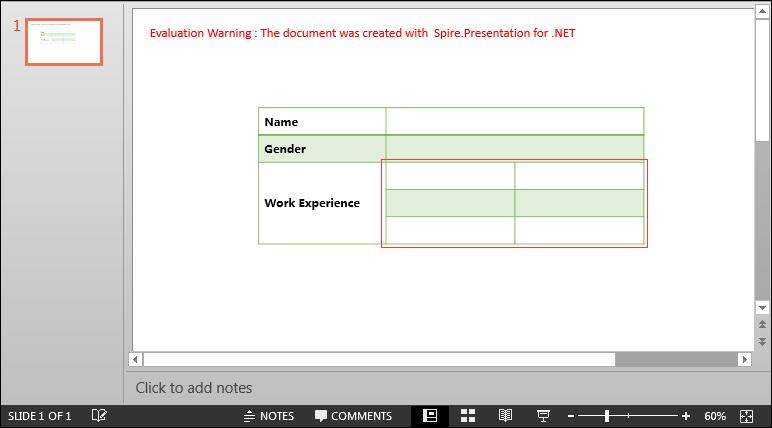 Split Table Cells in PowerPoint in C#