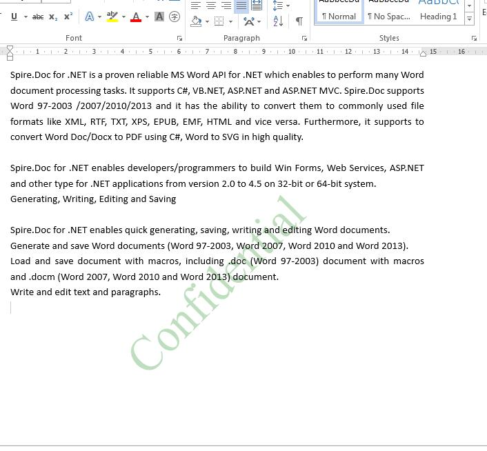 Add text watermark and image watermark to word document in C#