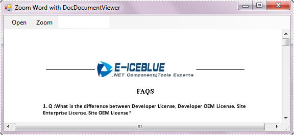 Zoom Word Document using Spire.DocViewer
