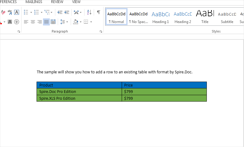 How to add a row to an existing word table in C#