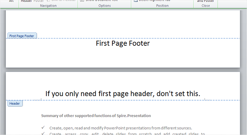 How to add different first page header & footer
