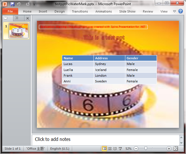 How to add image watermark in PowerPoint document in C#