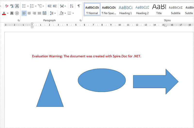 How to align the shape on word document in C#