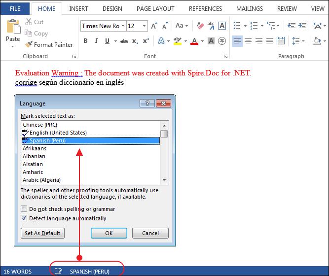 How to alter Language dictionary via Spire.Doc