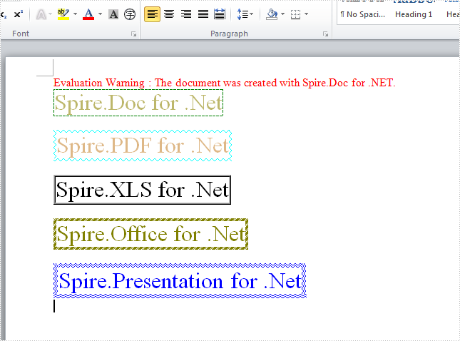 How to apply a border around characters or sentence in word document