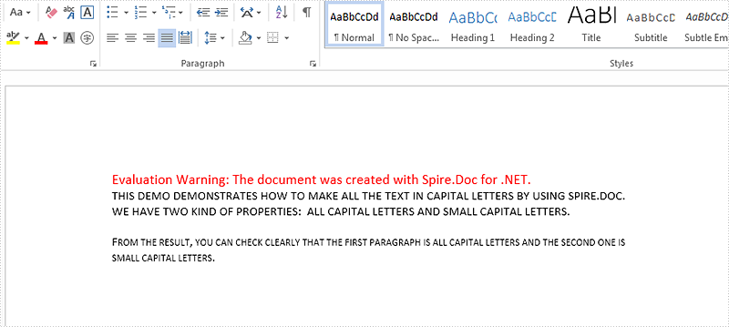 How to change text case to all Capital letters in C#