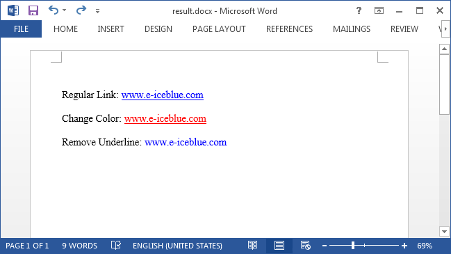 How to change the color or remove underline from hyperlink in Word with C#