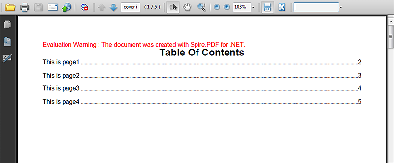 How to create table of contents on PDF in C#