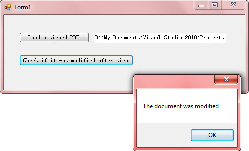 How to detect whether a signed PDF was modified or not using C#