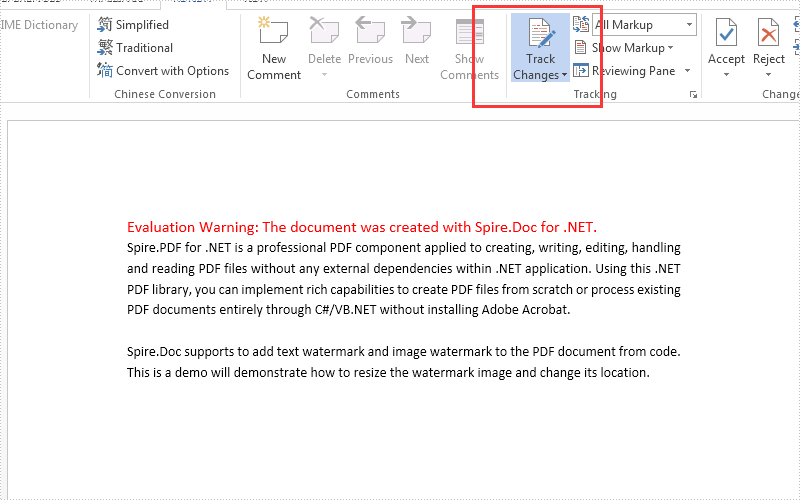 How to enable track changes of the word document