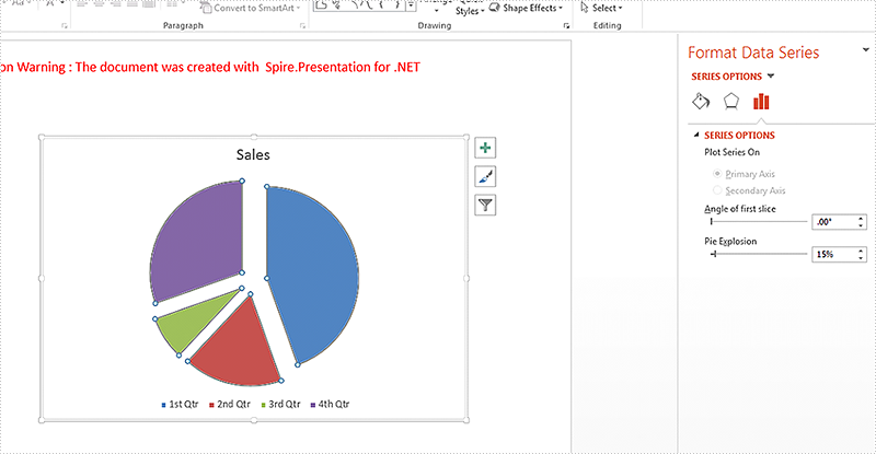 How to explode a pie chart on a presentation slide in C#
