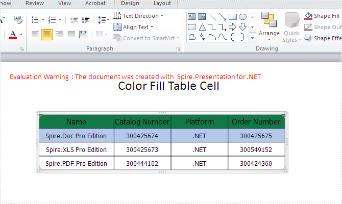 How to fill the table cell with color in PowerPoint document in C#