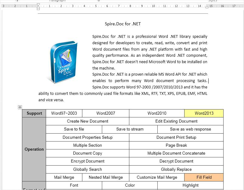 How to get text from word document in C#