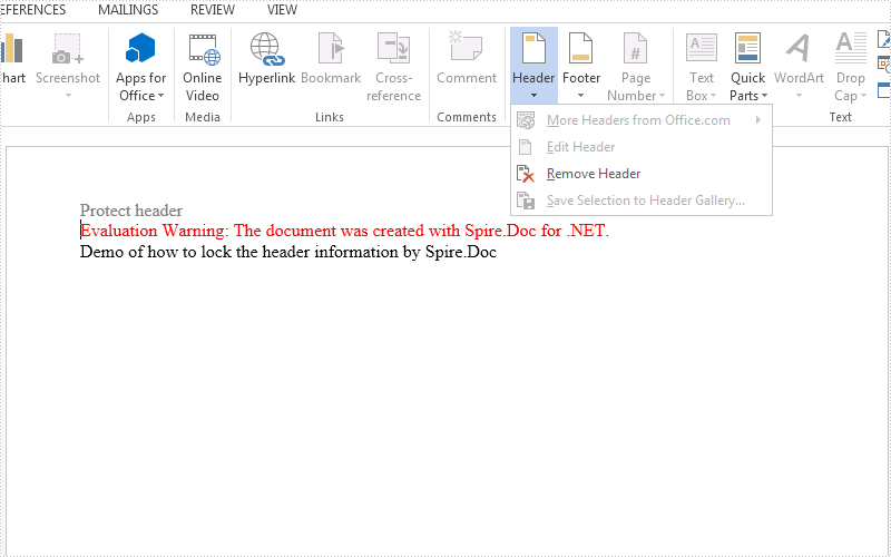How to lock the header from editing on word document in C#