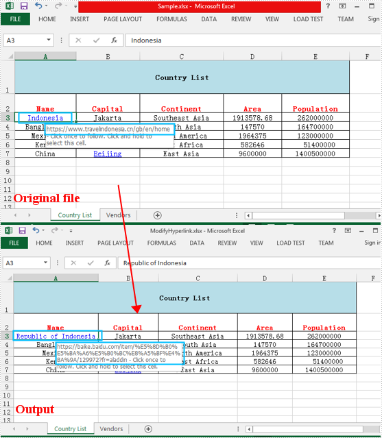 Modify and delete Hyperlinks in Excel in Java