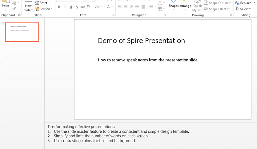 How to remove speaker notes from a presentation slide in C#