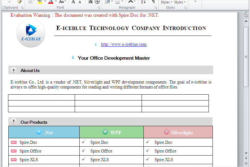 Replace text with table in a word document in C#