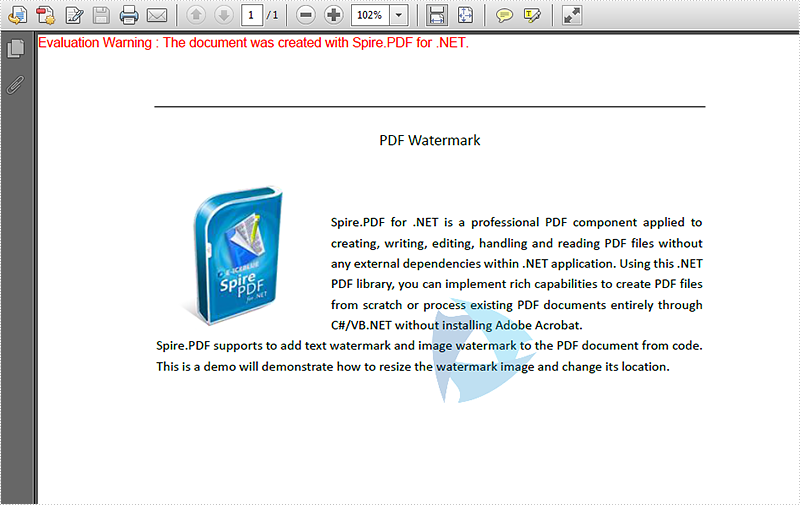 How to resize the PDF image watermark and set its location in C#