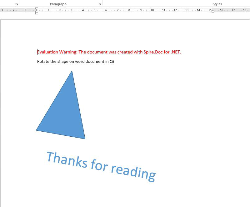 How to rotate the shape on word document in C#