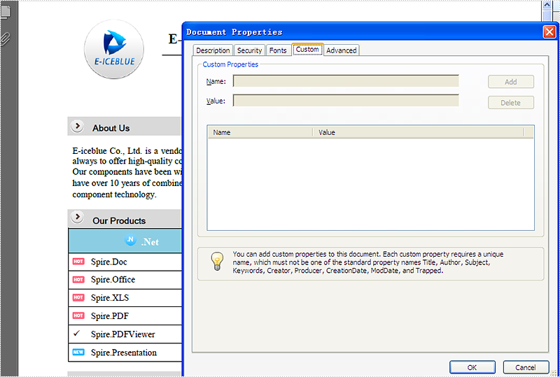 How to set custom properties for PDF file in C#