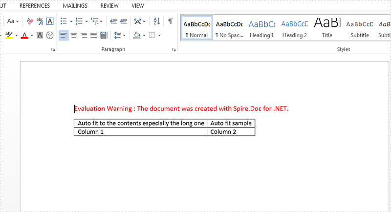 How to set the AutoFit option for word table in C#