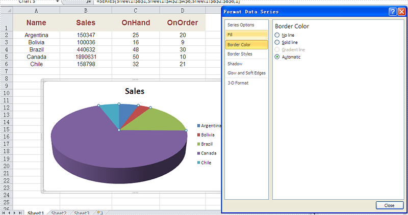How to set the border color and styles for Excel Chart
