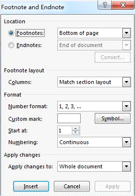 How to set the position and number format for word footnote in C#