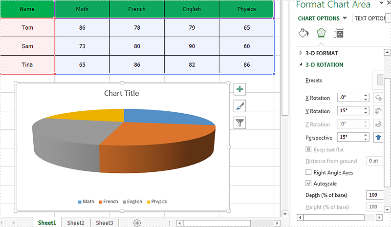 How to set the rotation for the 3D chart on Excel in C#